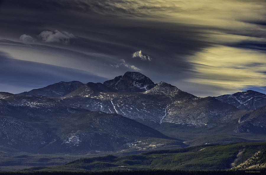 Painted Photograph - Painted Sky Over Longs Peak by Tom Wilbert