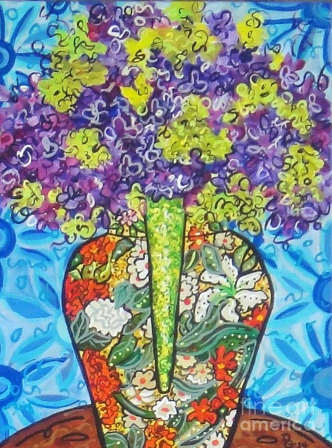Still Life Painting - Painted Vase With Hydrangeas by Deborah Glasgow