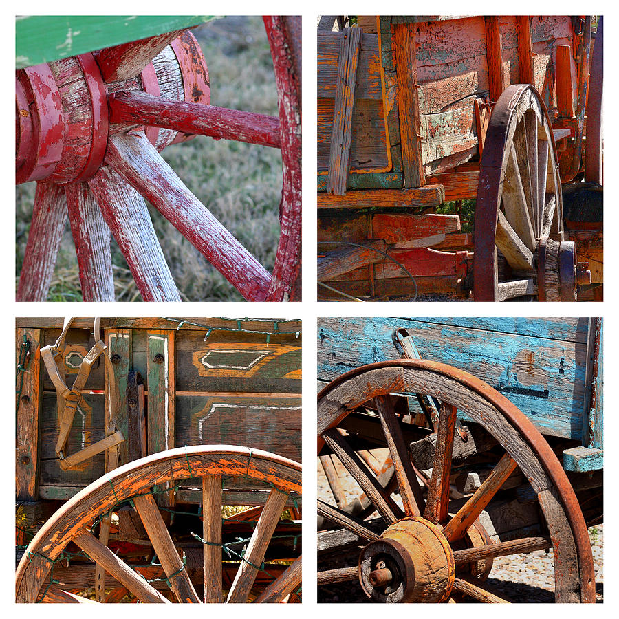 Western Photograph - Painted Wagons by Art Block Collections