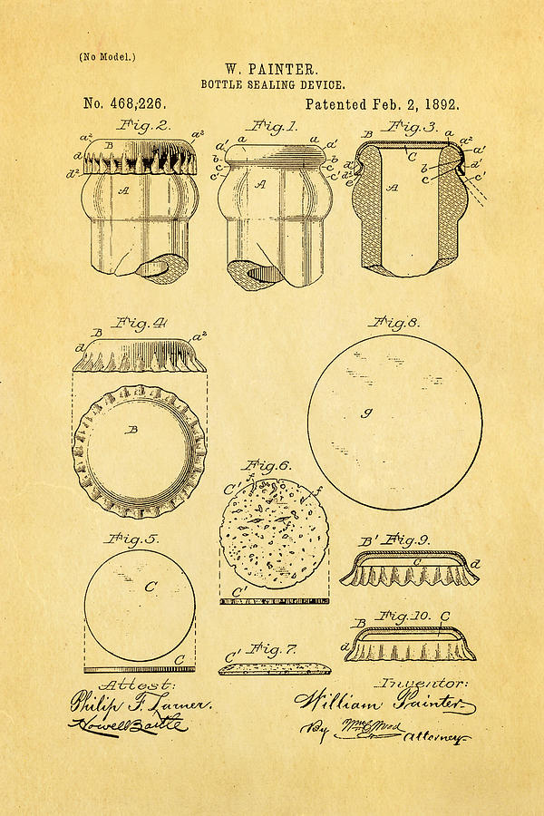 Famous Photograph - Painter Bottle Cap Patent Art 1892 by Ian Monk