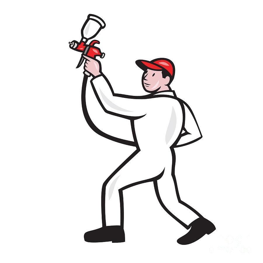 Painter Digital Art - Painter Spray Paint Gun Side Cartoon by Aloysius Patrimonio