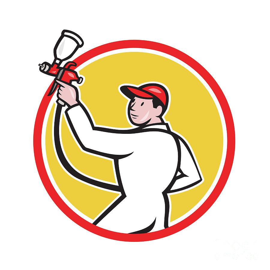 Painter Digital Art - Painter Spray Paint Gun Side Circle Cartoon by Aloysius Patrimonio