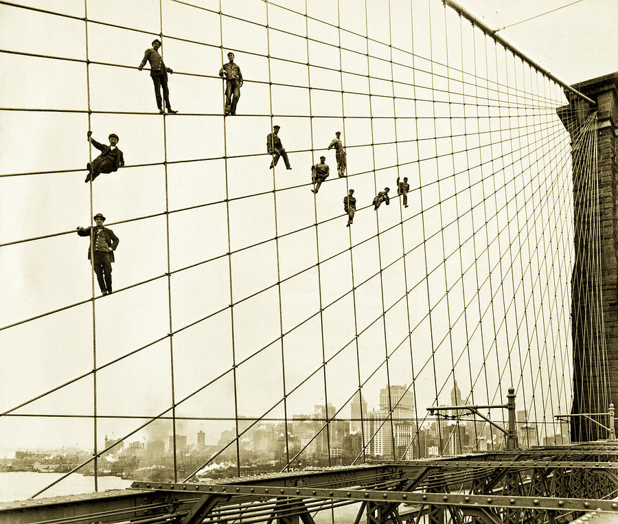Brooklyn Bridge Photograph - Painters On The Brooklyn Bridge 1914 by Mountain Dreams