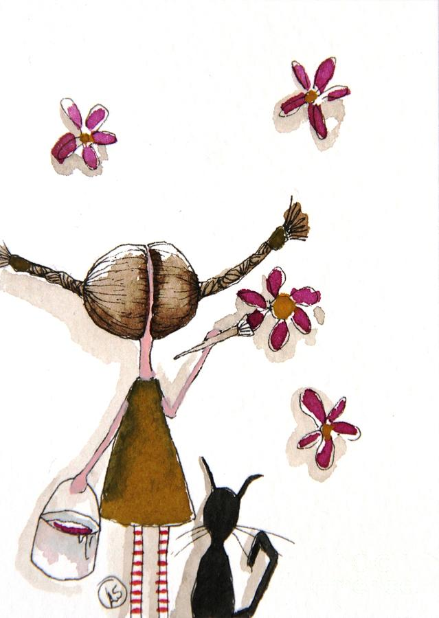 Stressie Cat Painting - Painting Flowers by Lucia Stewart