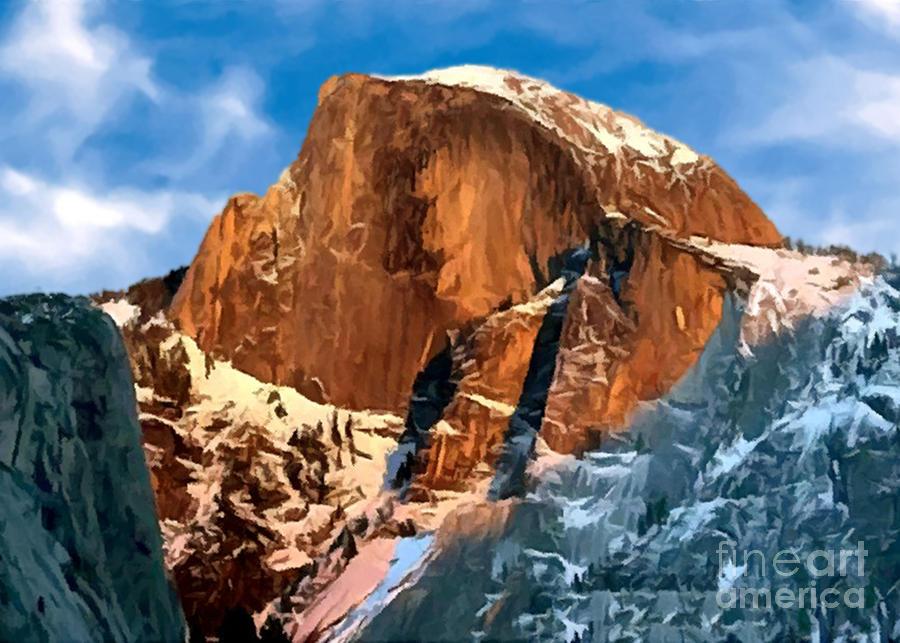 Alpine Painting - Painting Half Dome Yosemite N P by Bob and Nadine Johnston