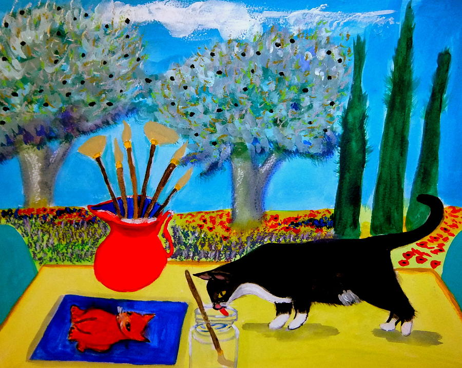 Provence Painting - Painting is thirsty work by Rusty Gladdish