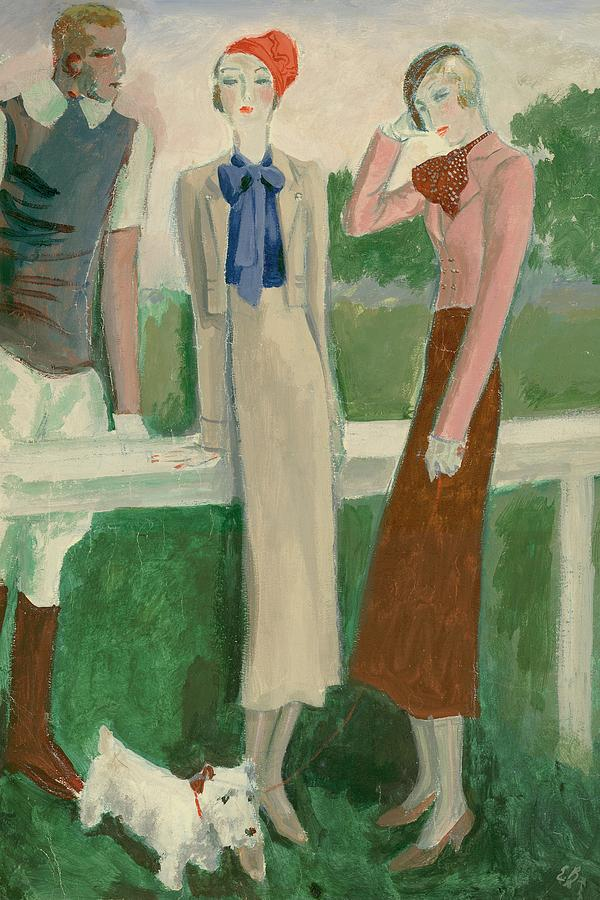 Painting Of A Fashionable Man And Two Women Digital Art by Eduardo Garcia Benito