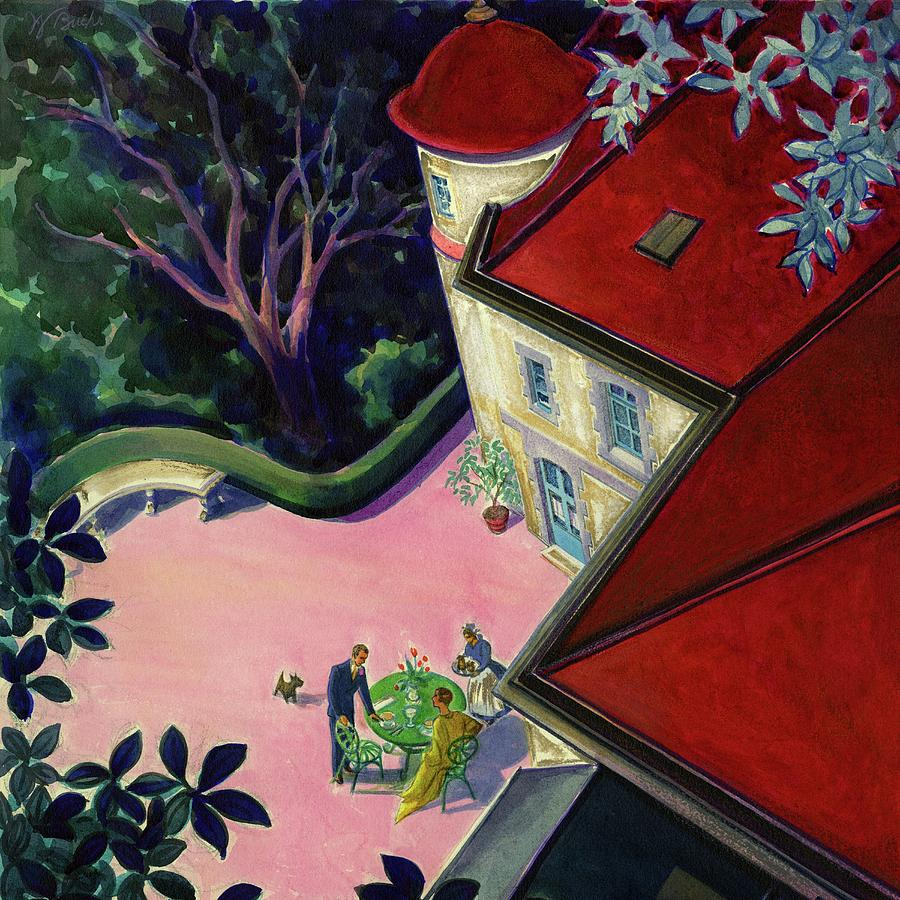 Painting Of A House With A Patio Digital Art by Walter Buehr
