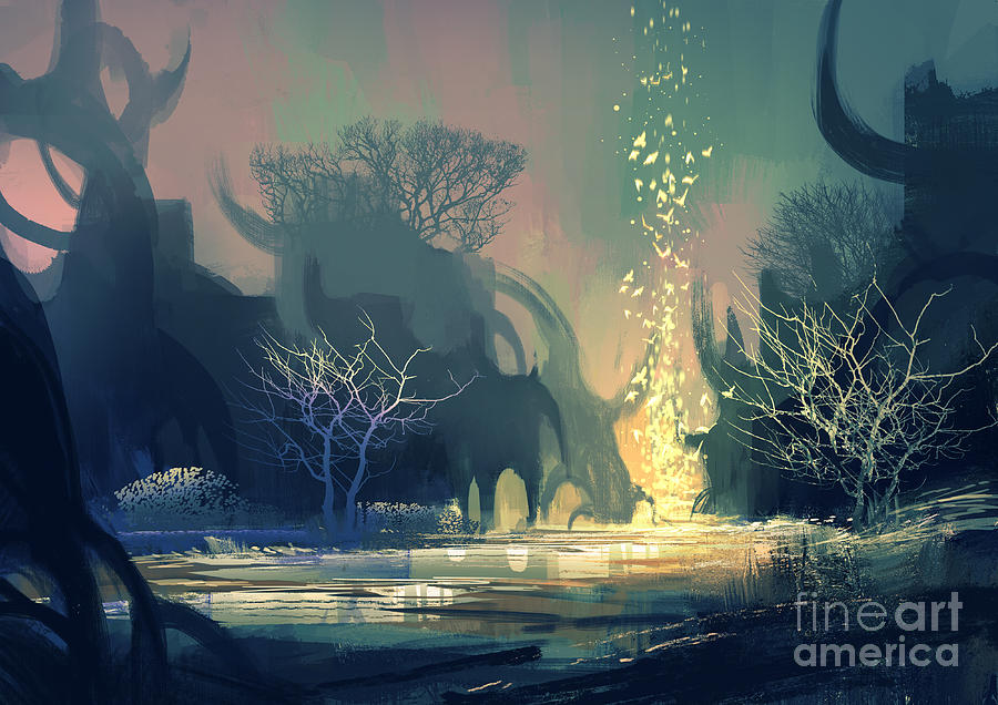 Painting Of Fantasy Landscape With