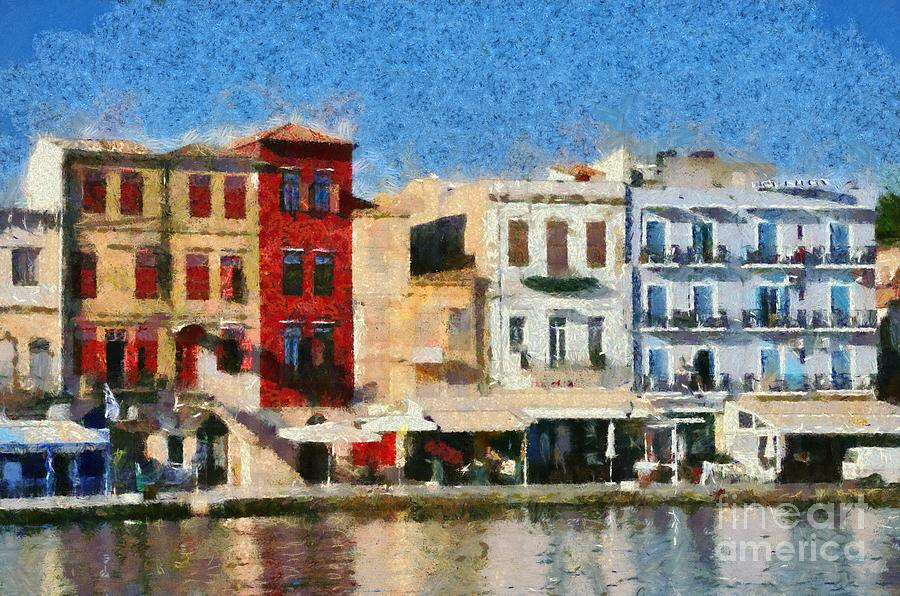 Chania; Hania; Crete; Kriti; Town; Old; City; Port; Harbor; Venetian; Greece; Hellas; Greek; Hellenic; Islands; Morning Light; Sea; Reflection; Reflections; Color; Colour; Colorful; Colourful; Island; Hotels; Taverns; Restaurants; Holidays; Vacation; Travel; Trip; Voyage; Journey; Tourism; Touristic; Summer; Paint; Painting; Paintings Painting - Painting Of The Old Port Of Chania by George Atsametakis
