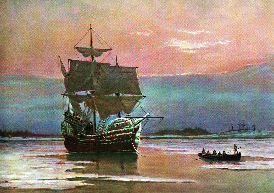 Horizontal Painting - Painting Of The Ship The Mayflower 1620 by Vintage Images