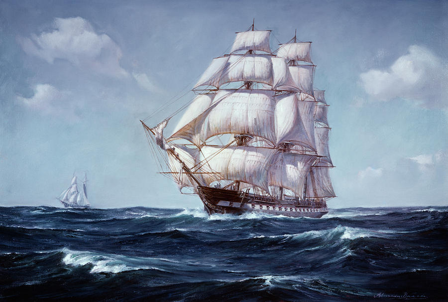 Horizontal Painting - Painting Of The Square Rigged Frigate by Vintage Images