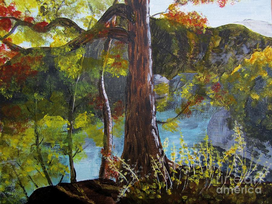 Autumn Painting - Painting Of Tree Of Golden Light by Judy Via-Wolff