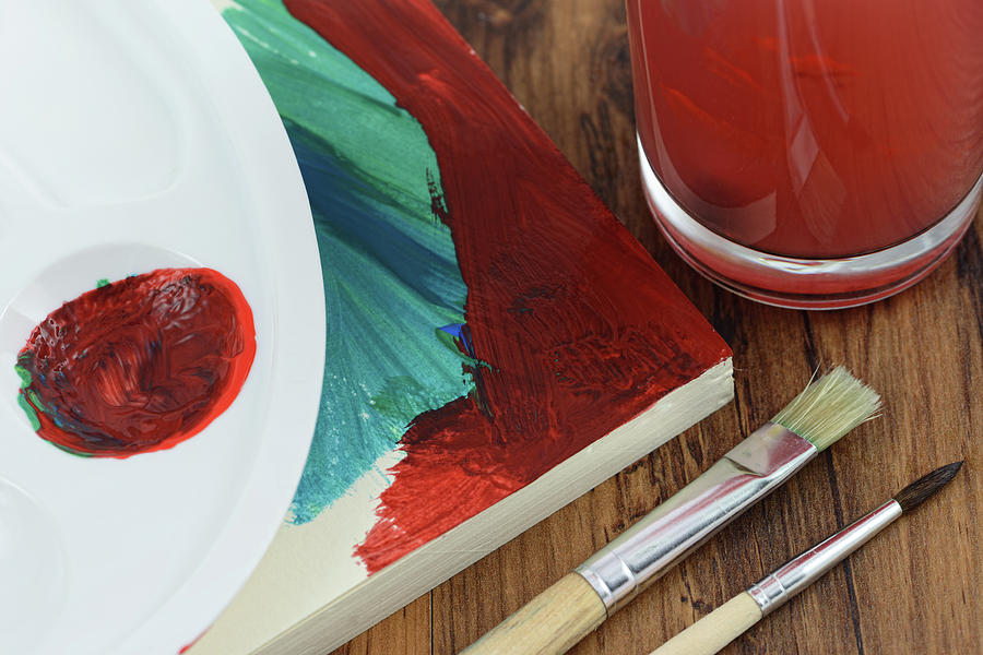 Painting Of Watercolors On A Paper Pad Photograph by Hsvrs