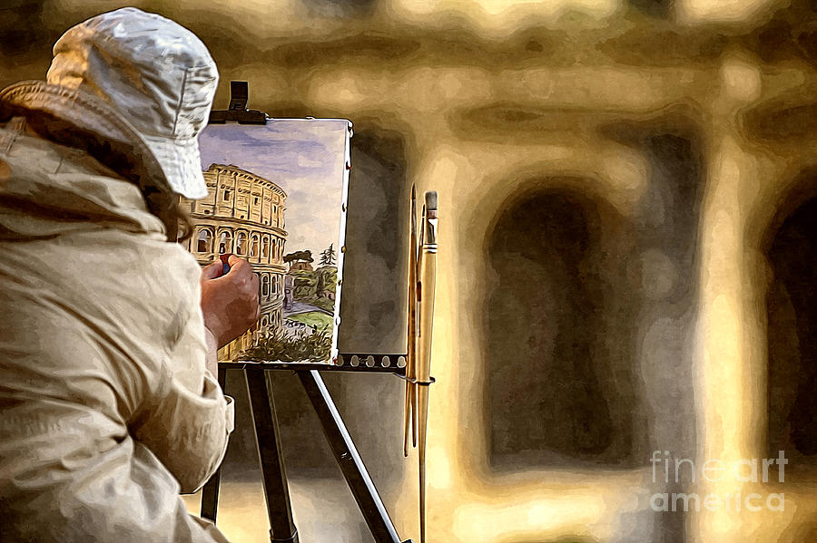 Colosseum Photograph - Painting the Colosseum by Stefano Senise