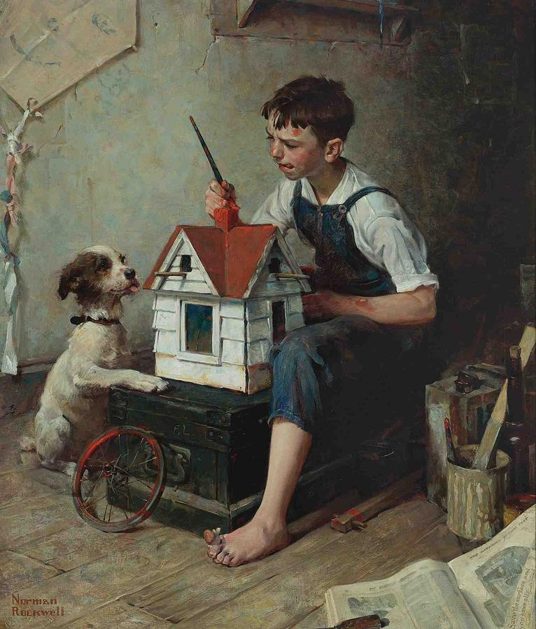 Norman Rockwell Painting - Painting the Little House by MotionAge Designs
