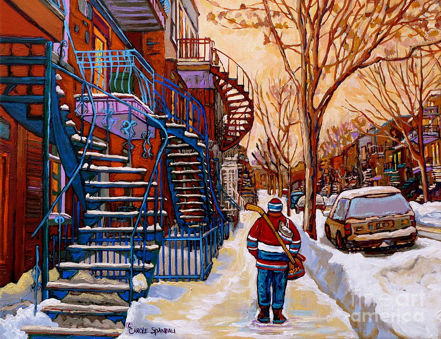 PAINTINGS OF MONTREAL BEAUTIFUL STAIRCASES IN WINTER WALKING HOME AFTER THE GAME BY CAROLE SPANDAU by CAROLE SPANDAU