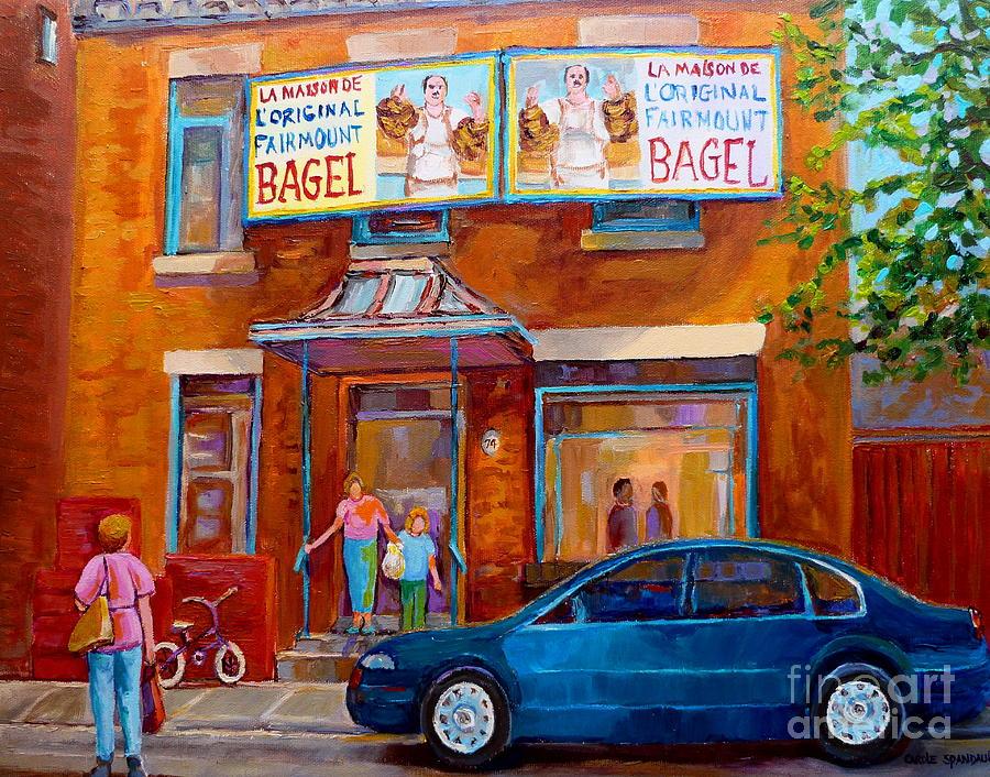 Fairmount Bagel Painting - Paintings Of Montreal Fairmount Bagel Shop by Carole Spandau