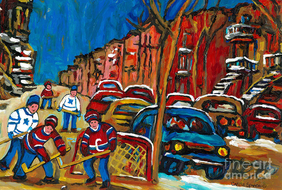 Montreal Painting - Paintings Of Montreal Hockey City Scenes by Carole Spandau