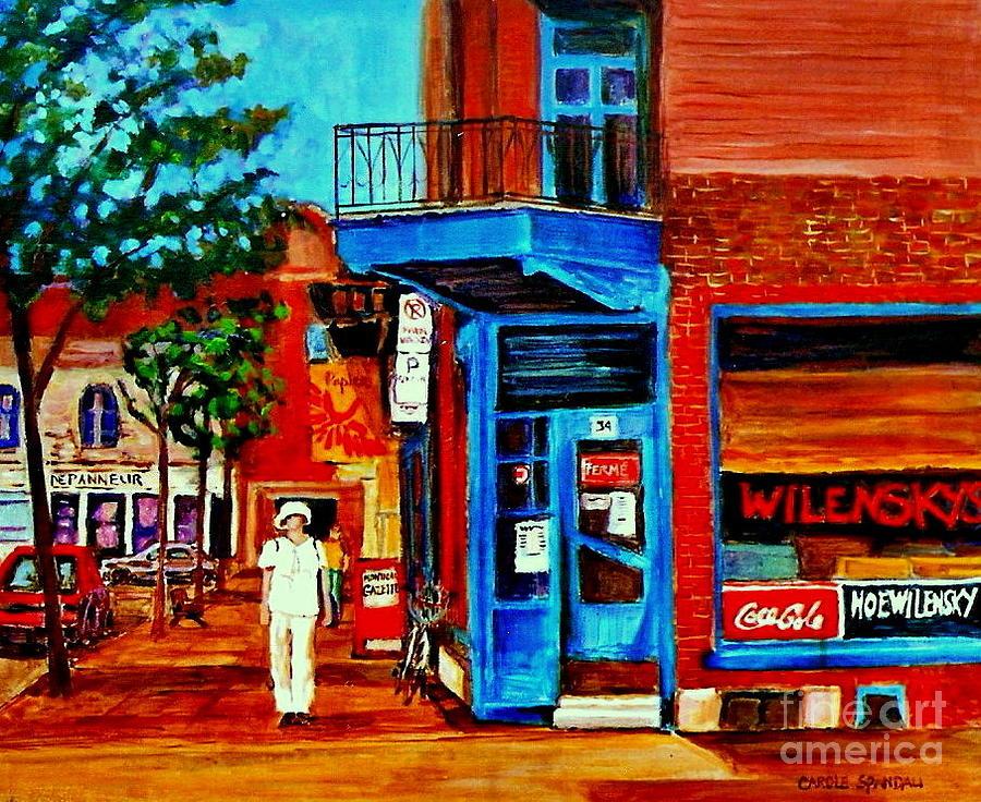Montreal Painting - Paintings Of Montreal Memories Moe Wilenskys Famous Corner Deli  Montreal Spring City Scene by Carole Spandau