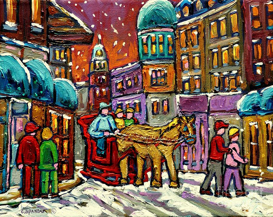 Montreal Painting - Paintings Of Old Quebec Magical Vieux Port Montreal City Scenes Caleche In Winter Carole Spandau by Carole Spandau