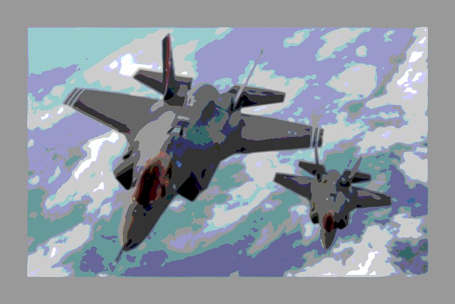 Pair Of F-35 Lightenings In Formation Enhanced Photograph by L Brown