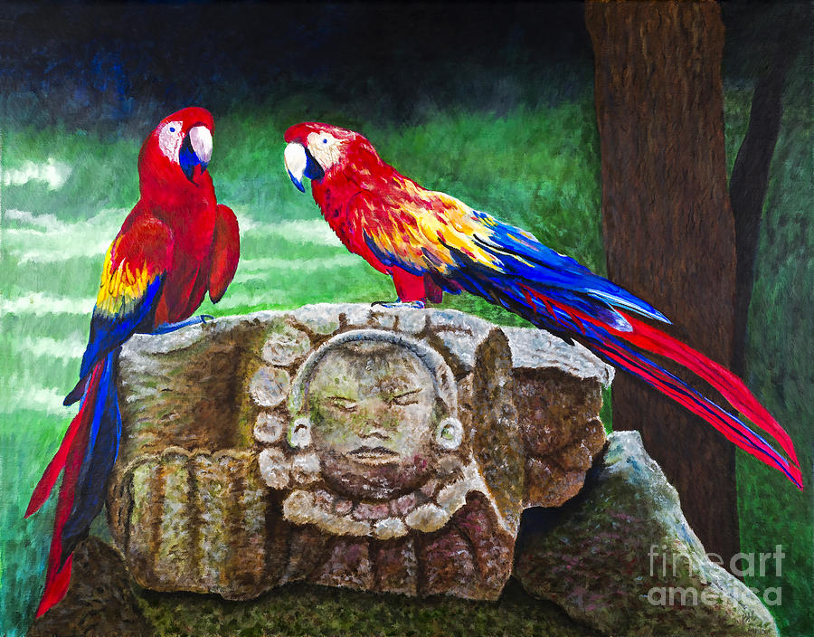 Parrots Painting - Pair Of Parrots By Barbara Heinrichs by Sheldon Kralstein