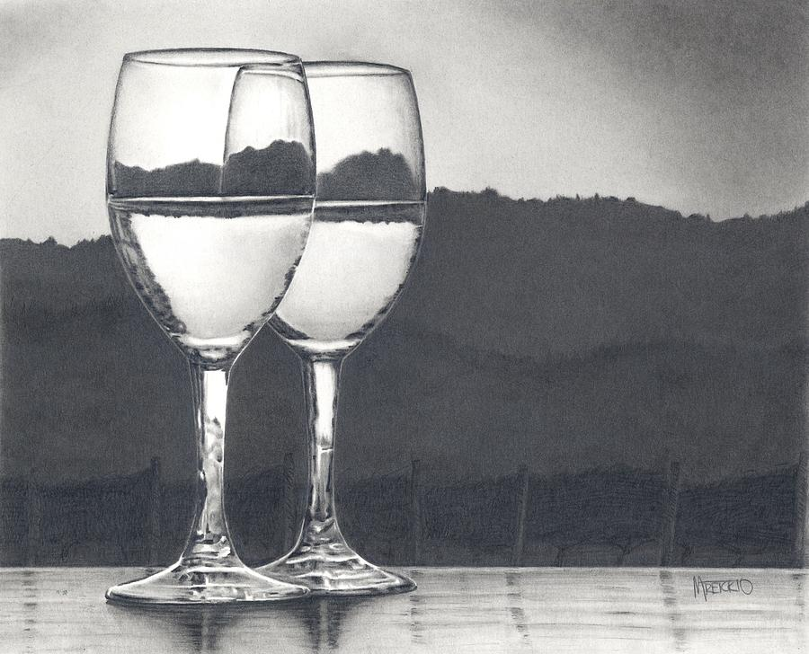 Wine Glasses Drawing - Pairing by Mark Treick