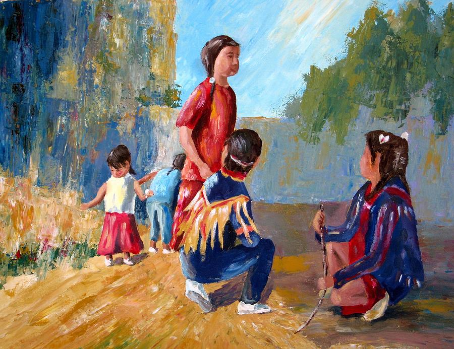 Paiute indian children playing at the powwow painting by for Paintings of toddlers