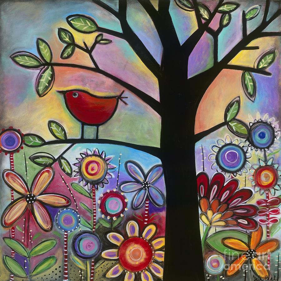 Red Bird Painting - Pajaro Loco by Carla Bank