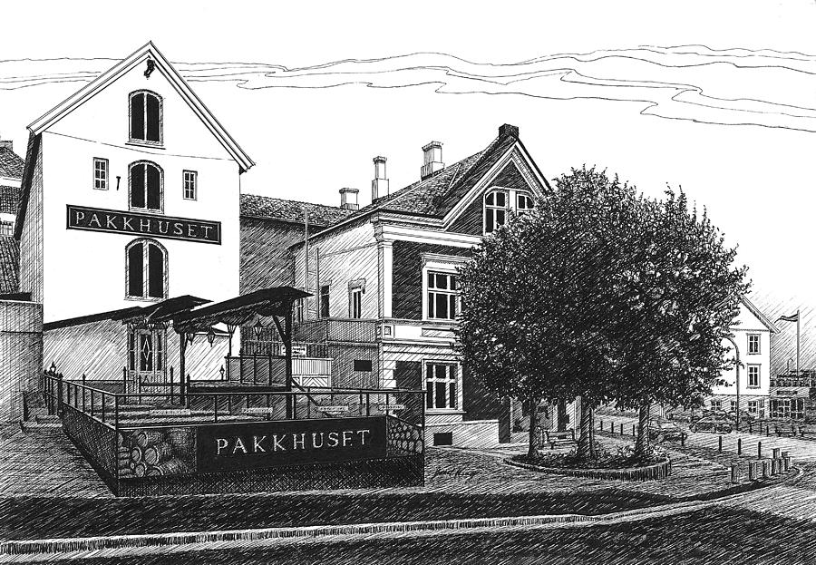 Pub Drawing - Pakkhuset by Janet King