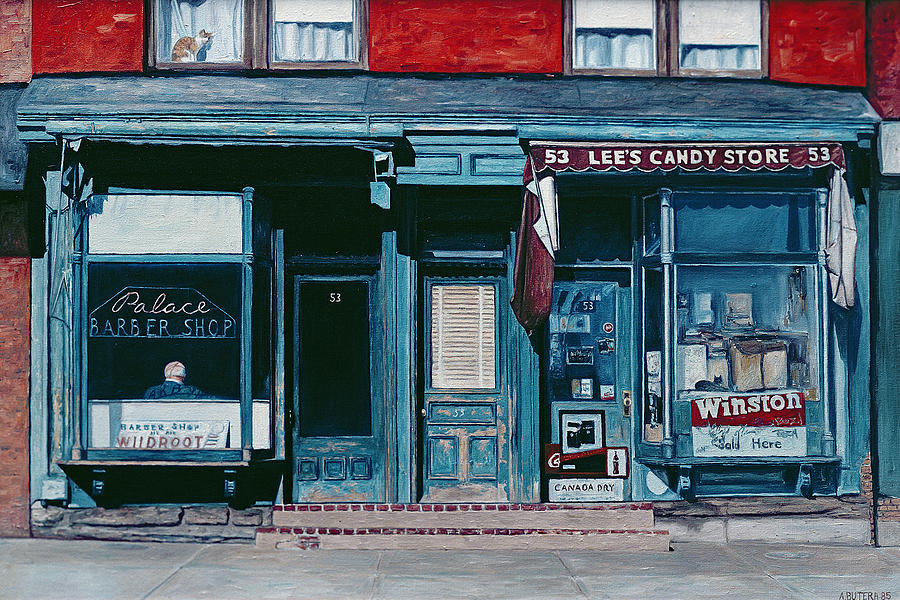 Facade Painting - Palace Barber Shop And Lees Candy Store by Anthony Butera