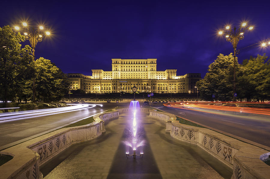 Palace Of Parliament At Night Photograph by LordRunar