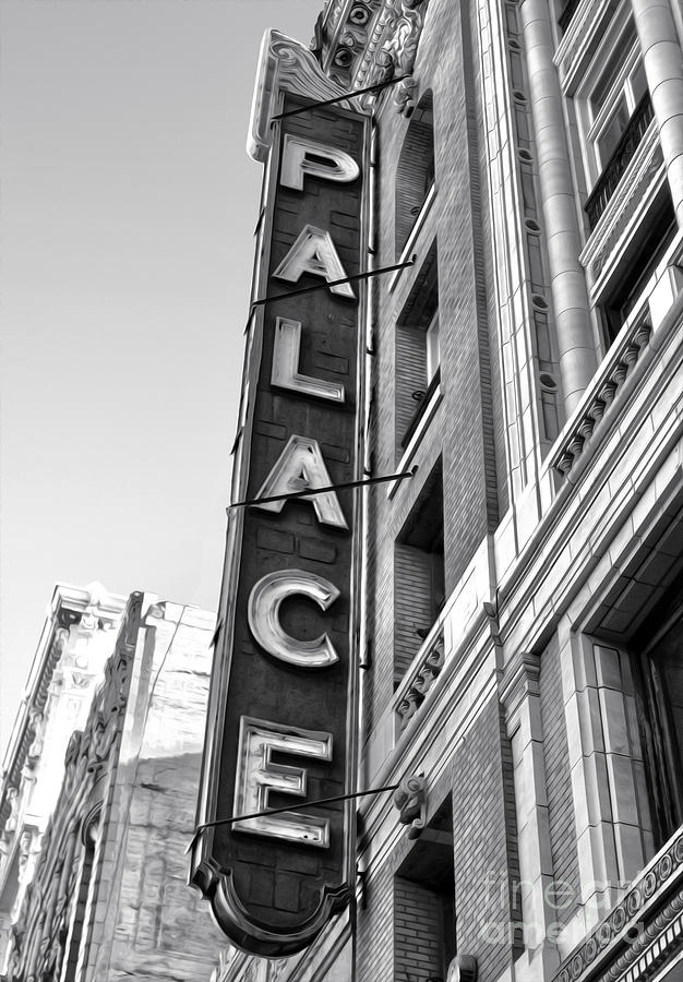 Palace Theater Photograph - Palace Theater - Los Angeles - Black And White by Gregory Dyer