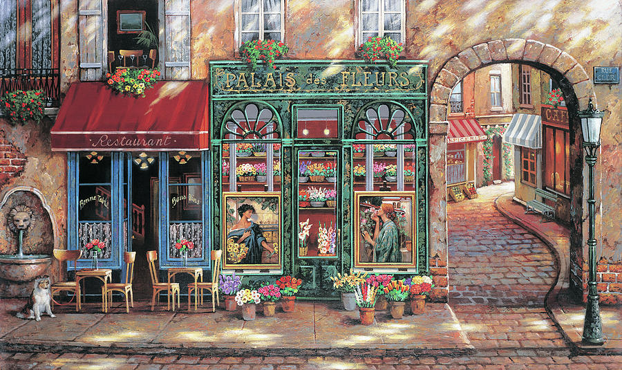 Flower Shop Painting - Palais Des Fleurs by MGL Meiklejohn Graphics Licensing