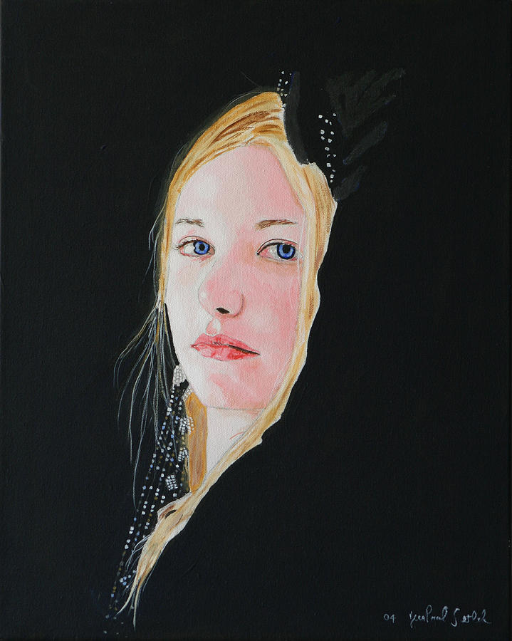 Woman Painting - Pale Blue Angel by Jean-Paul Setlak