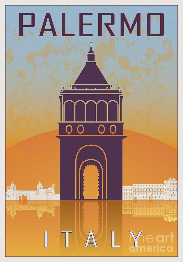 Palermo Vintage Poster Digital Art
