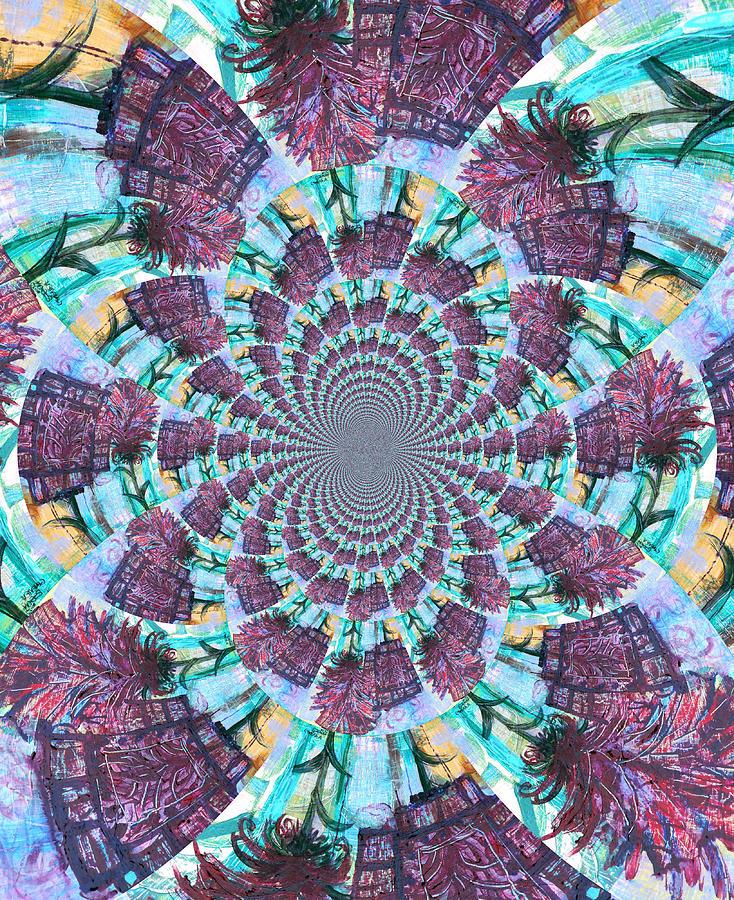 Pink Painting - Palette Knife Flowers Kaleidoscope Mandela by Genevieve Esson