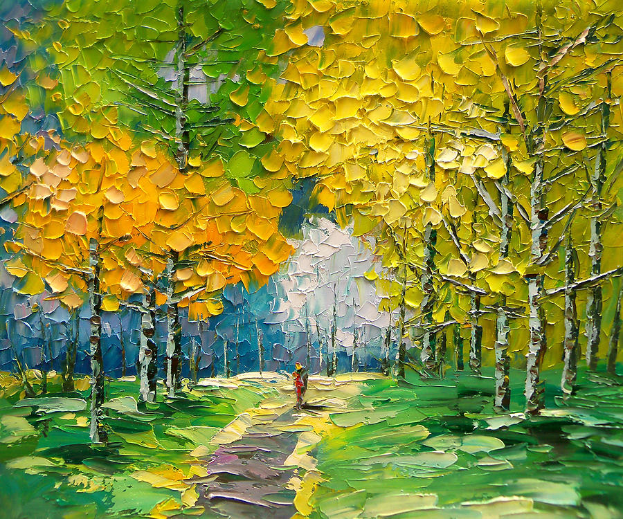 Landscape Painting - Palette knife landscape oil painting by Enxu Zhou