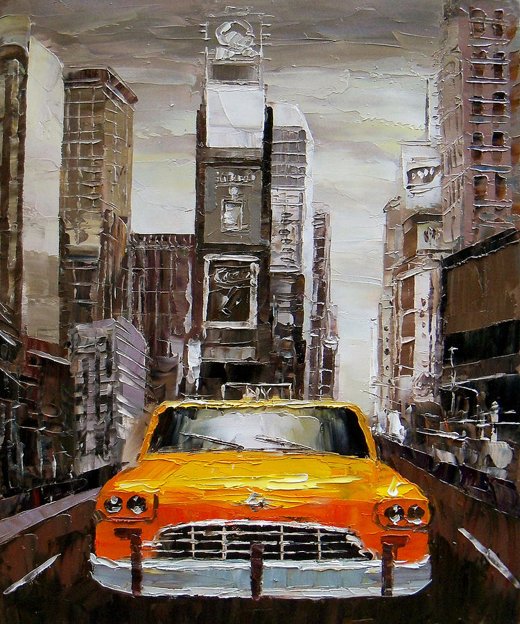 Watercolor New York: Palette Knife Oil Painting New York Time Square Painting