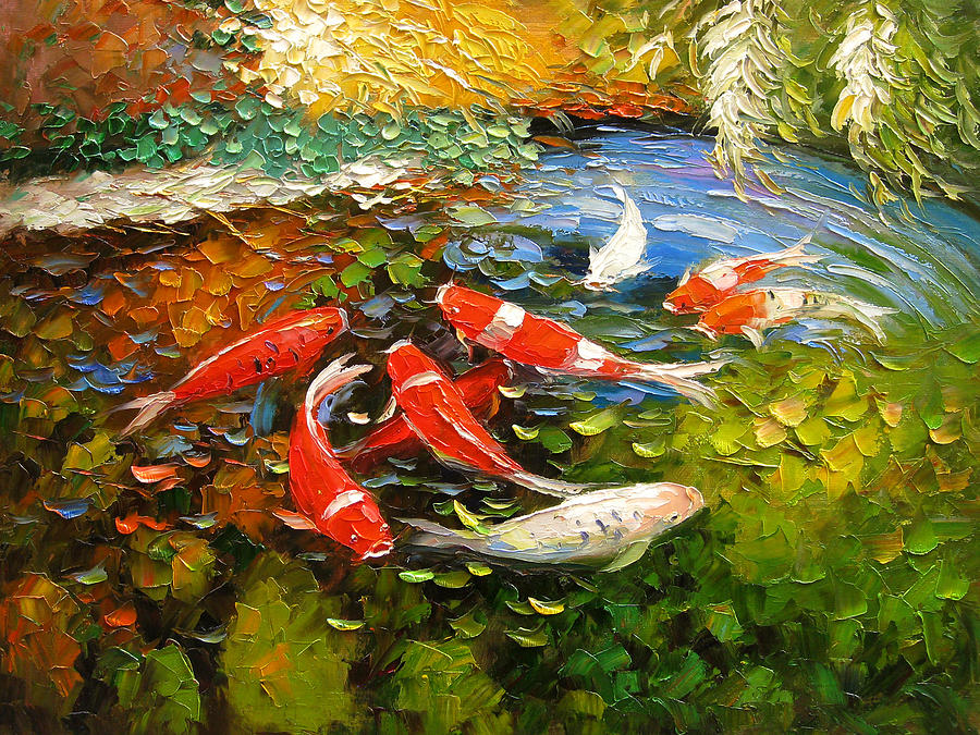 Palette knife oil panting koi fish painting by enxu zhou for Koi fish artwork