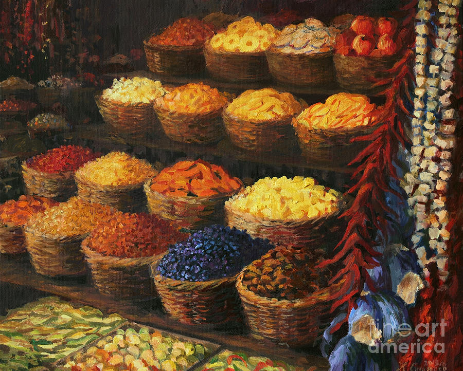Fruits Painting - Palette of The Orient by Kiril Stanchev