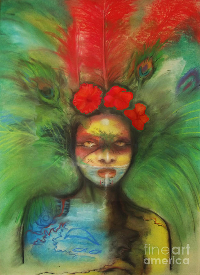 Mask Painting - Pali by Donna Chaasadah