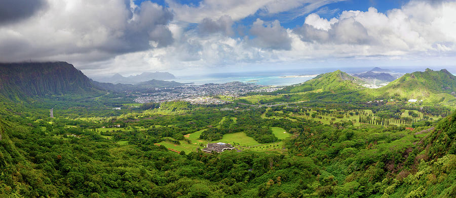 Pali Lookout Overlooking Kaneohe Photograph by Anna Gorin