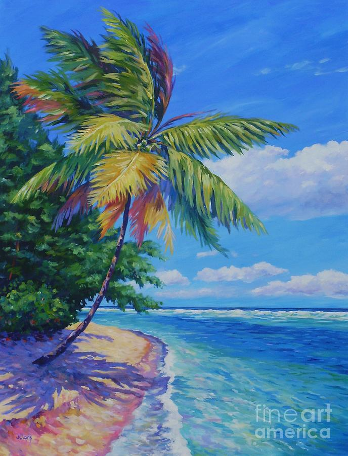 Palm At The Water S Edge Painting By John Clark