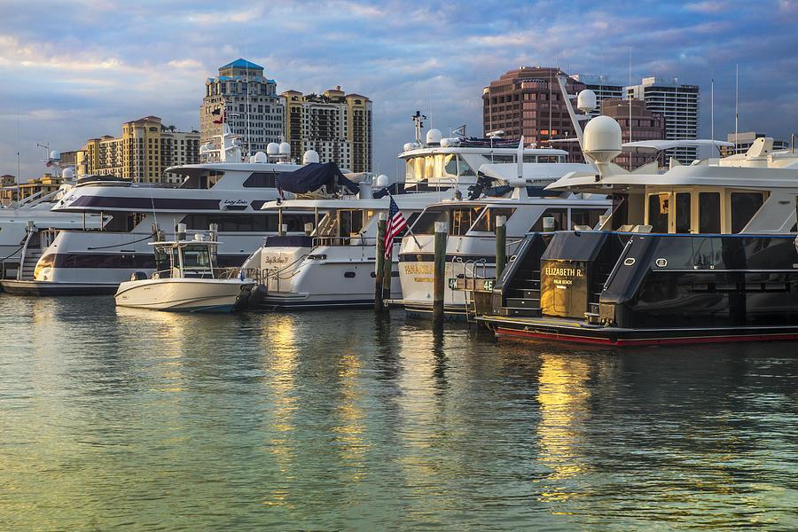 Boats Photograph - Palm Beach Marina by Debra and Dave Vanderlaan