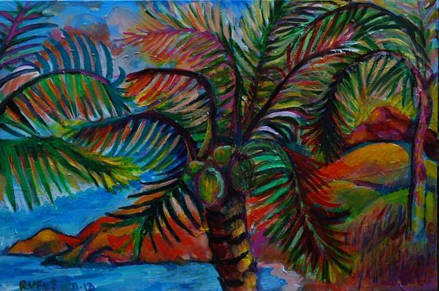Colorful Painting - Palm Canopy by Rufus Norman