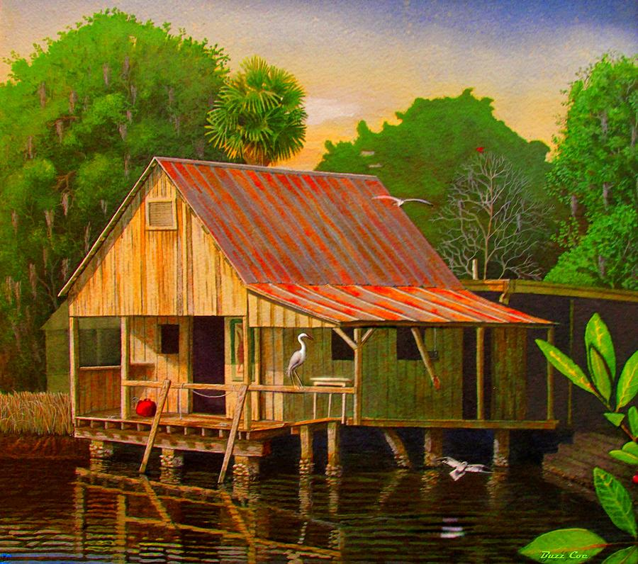 Island Canvas Prints Painting - Palm Island Crab House  by Buzz Coe