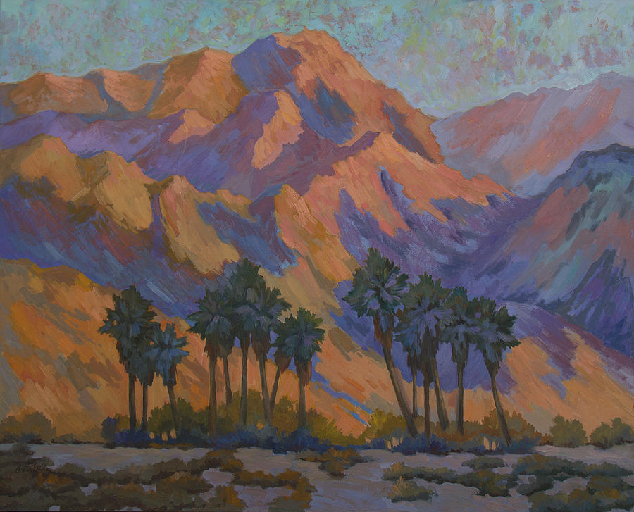Palm Trees Painting - Palm Oasis At La Quinta Cove by Diane McClary