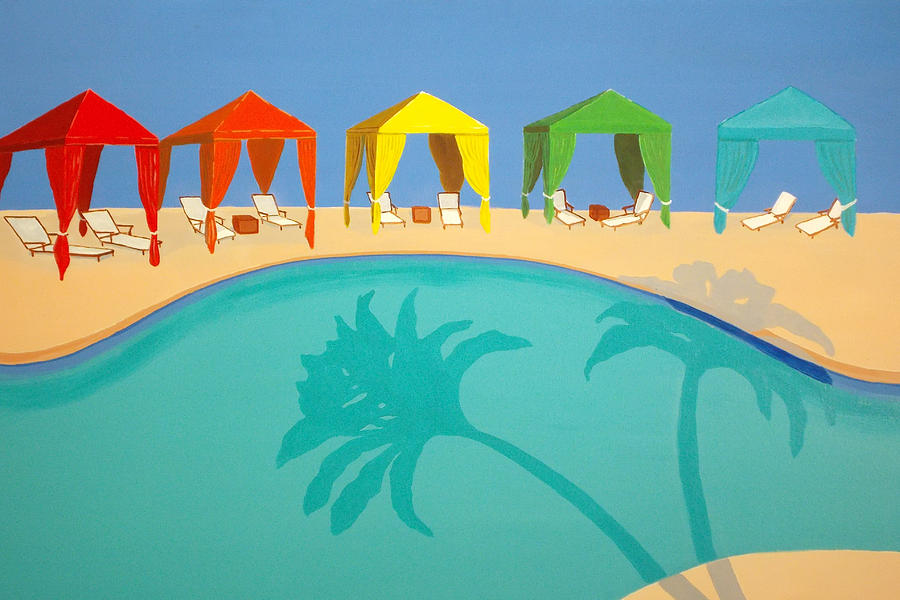 Resort Painting - Palm Shadow Cabanas by Karyn Robinson